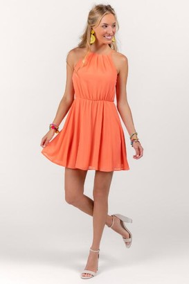 francesca's Flawless Solid Dress in Coral - Living Coral