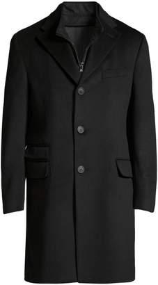 Corneliani ID Leather-Trim Wool Topcoat