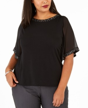 Belldini Plus Size Embellished Sheer-Sleeve Top