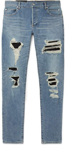 11e525a4 Balmain Blue Men's Distressed Jeans - ShopStyle