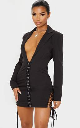 PrettyLittleThing Black Hook And Eye Lace Up Detail Long Sleeve Blazer Dress