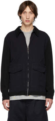 Comme des Garcons Homme Homme Black and Navy Serge Oxford Jacket