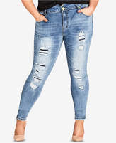 City Chic Petite Trendy Plus Size Ripped Skinny Jeans