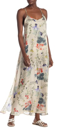 Vitamin A Bisette Floral Silk Cover-Up Maxi Dress