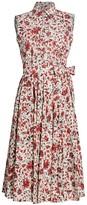 Prada Belted Floral Cotton Shirtdress