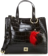 Kate Landry Mini Me Crocodile-Embossed Satchel with Faux-Fur Pom