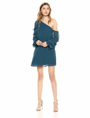 Ali & Jay Women's Love The Way I Look Tonight ONE Shoulder Ruffle Mini Dress