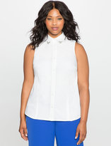 ELOQUII Plus Size Studio Sleeveless Embellished Collar Top