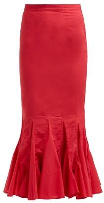 Rhode Resort Sienna Fishtail Cotton Midi Skirt - Red