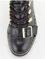 Office Abundance Buckle Hiker Boot Ankle Boots - Black