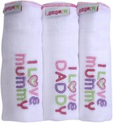 Minene I Love Mummy/I Love Daddy Embroidered Muslin Squares (White/Pink ,Set of 3)