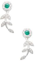 Rina Limor Fine Jewelry 18K White Gold, Emerald & 0.42 Total Ct. Diamond Flower Drop Earrings
