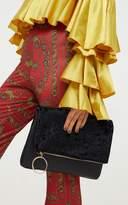 PrettyLittleThing Black Velvet Fold over Clutch Bag