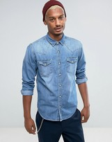 Pull&Bear Western Denim Shirt In Light Blue Wash