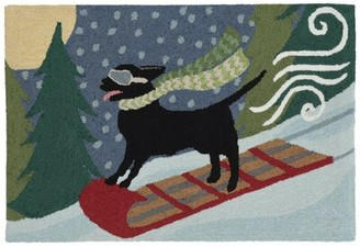 The Holiday Aisle Stamper Toboggan Dog Hand-Tufted Blue/Green Indoor/Outdoor Area Rug Size: Rectangle 2' x 3'