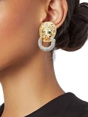 Kenneth Jay Lane Lion Head Doorknocker Clip-On Earrings