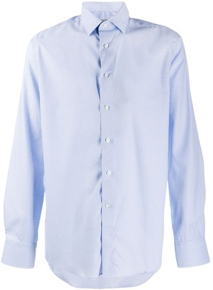Canali Checked Print Long Sleeve Shirt
