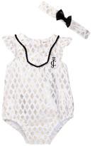 Juicy Couture Foil Printed Poplin Sunsuit & Headband Set (Baby Girls 0-9M)