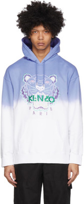 Kenzo Blue and White Gradient Tiger Hoodie