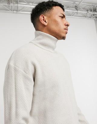 Topman oversized funnel neck sweater in gray