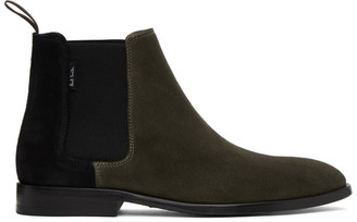 Paul Smith Khaki and Black Gerald Chelsea Boots