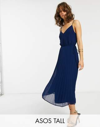 Asos Tall DESIGN Tall pleated cami midi dress with drawstring waist-Navy