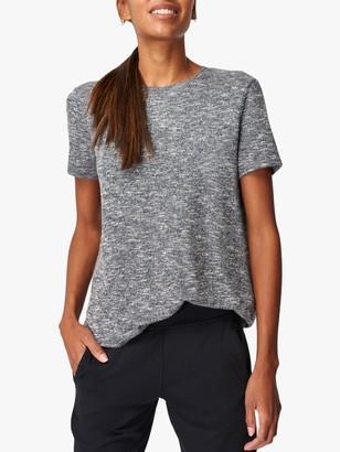 Sweaty Betty Meditate Open Tie Back T-Shirt, Charcoal Marl