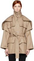 Courreges Beige Convertible Sleeve Belted Coat
