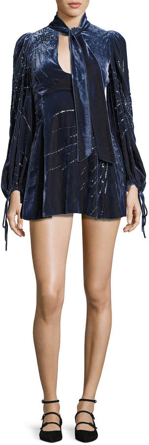 Marc Jacobs Sequined Velvet Bell-Sleeve Dress, Navy