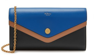 Mulberry Multiflap Wallet on Chain Porcelain Blue, Light Walnut and Black