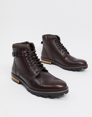 Ben Sherman buckle detail lace up ankle booots in choc leather
