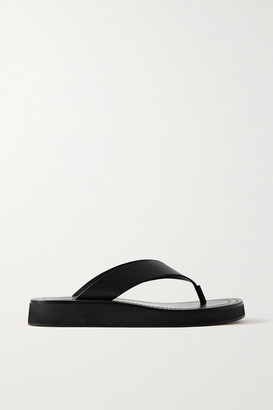 The Row Ginza Leather Platform Flip Flops - Black