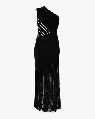 Herve Leger Velvet Fringed One-Shoulder Gown