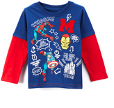 Children's Apparel Network Marvel Blue & Red Layered Tee - Toddler