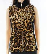 Calvin Klein Brown Black Leopard Animal Print Small S Vest Jacket
