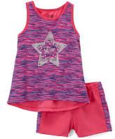 Pink & Purple Star Racerback Tank & Shorts - Toddler