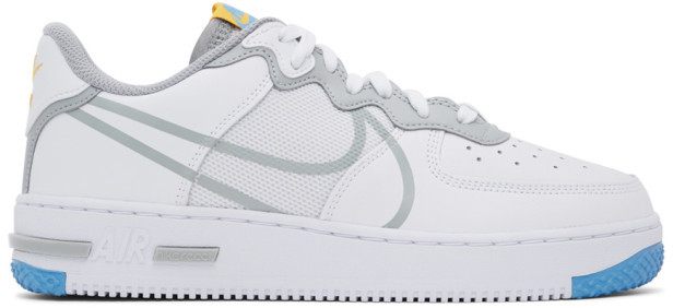 Nike White and Grey Air Force 1 React Sneakers
