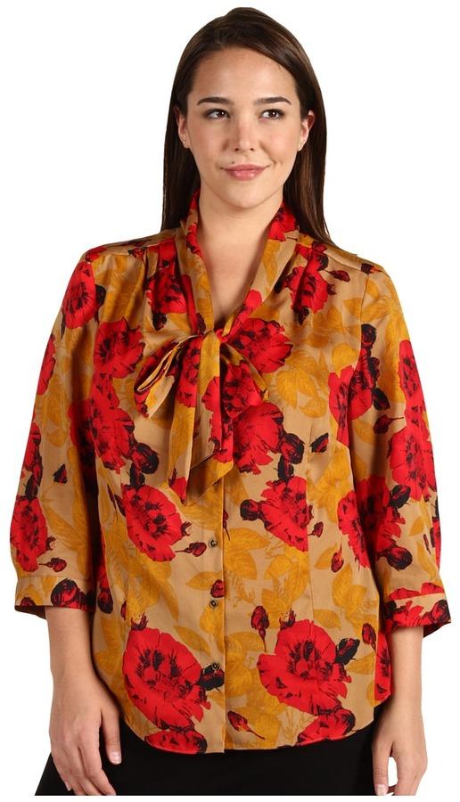 Klein Plus Anne Plus Size Floral Print Bow Blouse (Poppy Red Multi) - Apparel