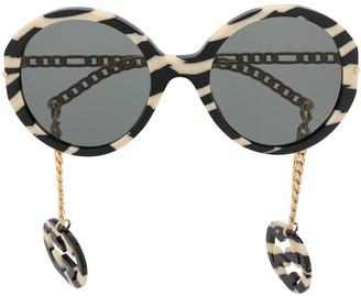 Gucci Zebra-Stripes Round-Frame Sunglasses