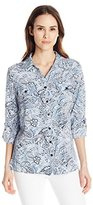 Notations Women's 3/4 Tab Sleeve Printed Y Neck Utility