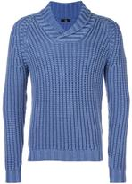 Fay shawl lapel ribbed jumper