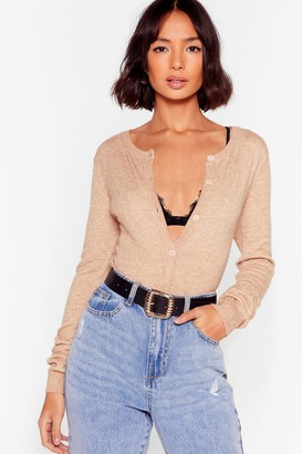 Nasty Gal Womens It's a Cover Up Button-Down Knit Cardigan - Beige - L