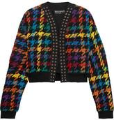 Balmain Houndstooth Cotton-blend Bomber Jacket - Black