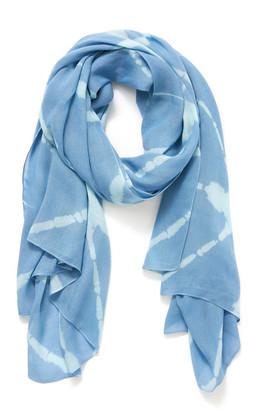 Elizabeth Gillett Tie Dye Wrap Fog Scarf Lite Blue 1 Size