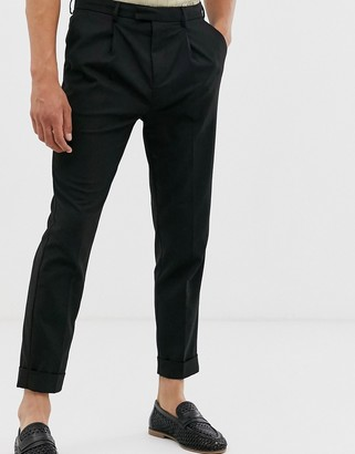 Topman skinny smart trousers in black with turn up hem