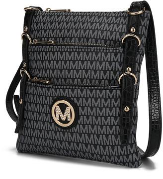 MKF Collection by Mia K. Women's Crossbodies Black - Black Venna Signature Crossbody Bag
