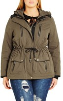City Chic Plus Size Women's 'In Line' Drawstring Waist Military Parka