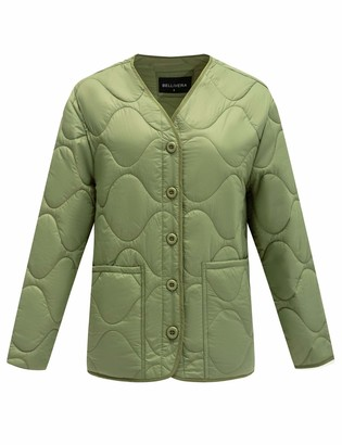 Bellivera Thin Lightweight Jacket Women Puffer Coat Cotton Filling for Spring and Fall Green Small