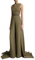 Brandon Maxwell Sleeveless Jumpsuit with Train, Olive
