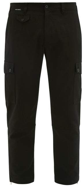 Dolce & Gabbana Cotton Blend Cargo Trousers - Mens - Black